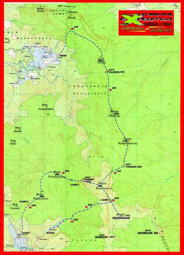 Peta Jalur Latimojong Tanah Toraja
